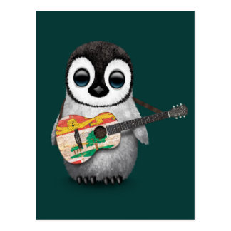 Pingüino lindo que juega el trullo de la guitarra postal