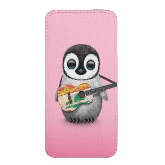 Pingüino lindo que juega rosa de la guitarra de la bolsillo para iPhone