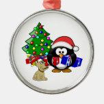 Pingüino lindo Santa y perro del reno Adorno Para Reyes