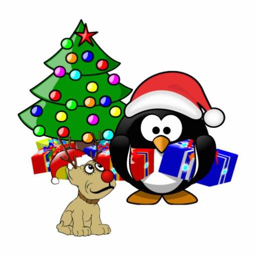 Pingüino lindo Santa y perro del reno Escultura Fotográfica