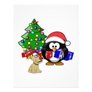 Pingüino lindo Santa y perro del reno Tarjetones