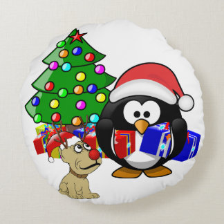 Pingüino lindo Santa y perro del reno