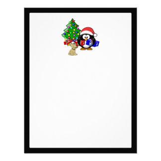 Pingüino lindo Santa y perro del reno Membrete A Diseño