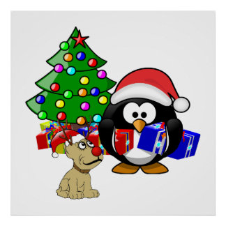 Pingüino lindo Santa y perro del reno Poster