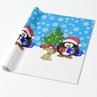 Pingüino lindo Santa y perro del reno Papel De Regalo