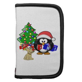 Pingüino lindo Santa y perro del reno Organizadores