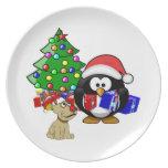 Pingüino lindo Santa y perro del reno Platos De Comidas