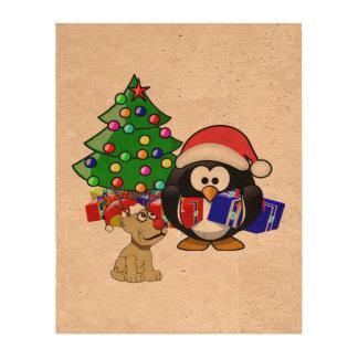 Pingüino lindo Santa y perro del reno Papel De Corcho