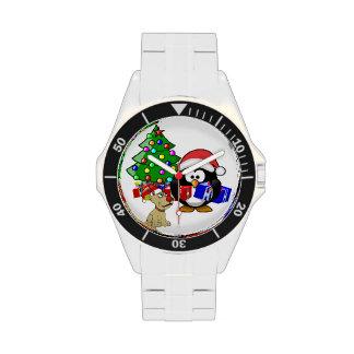 Pingüino lindo Santa y perro del reno Relojes De Mano