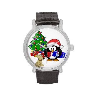 Pingüino lindo Santa y perro del reno Relojes