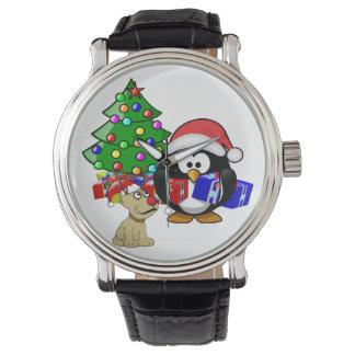 Pingüino lindo Santa y perro del reno Reloj