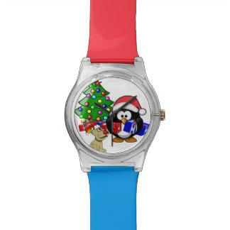 Pingüino lindo Santa y perro del reno Relojes De Pulsera