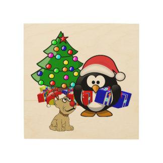 Pingüino lindo Santa y perro del reno Cuadros De Madera