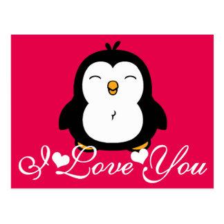 Pingüino lindo te amo postal