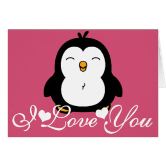 Pingüino lindo te amo tarjeta de felicitación