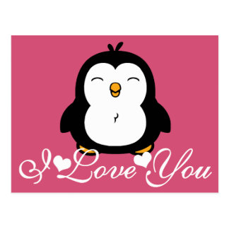 Pingüino lindo te amo tarjeta postal