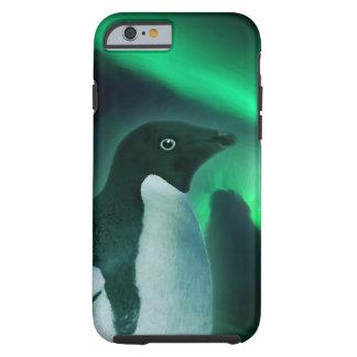 Pingüino lindo y aurora antárticos australis funda de iPhone 6 tough
