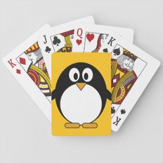 Pingüino lindo y moderno del dibujo animado cartas de póquer