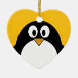 Pingüino lindo y moderno del dibujo animado adornos de navidad