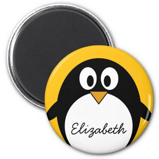 Pingüino lindo y moderno del dibujo animado iman de frigorífico