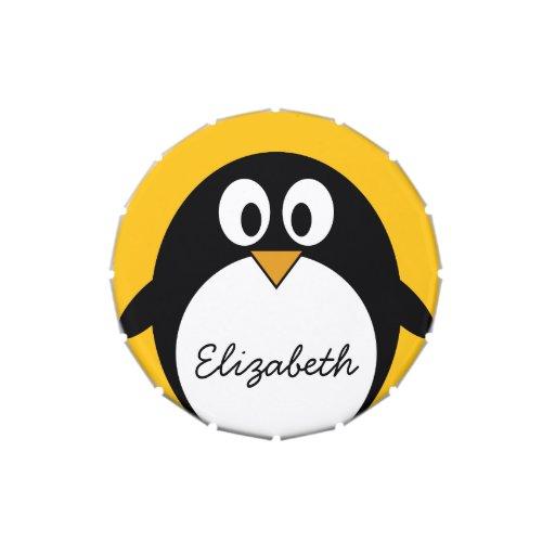 Pingüino lindo y moderno del dibujo animado jarrones de dulces