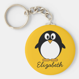 Pingüino lindo y moderno del dibujo animado llavero redondo tipo pin