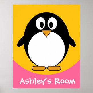 Pingüino lindo y moderno del dibujo animado impresiones