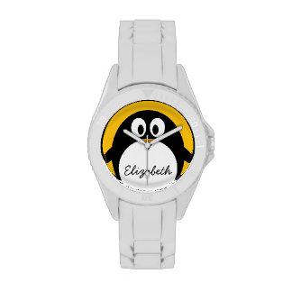 Pingüino lindo y moderno del dibujo animado relojes de pulsera