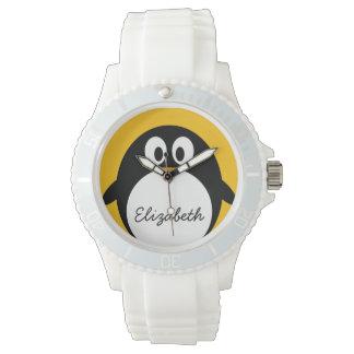 Pingüino lindo y moderno del dibujo animado reloj de mano