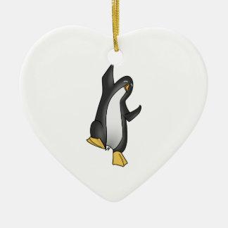 Pingüino Linux Adorno Navideño De Cerámica En Forma De Corazón
