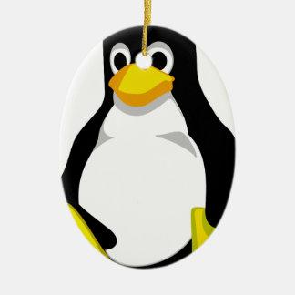 Pingüino Linux Tux Adorno Navideño Ovalado De Cerámica