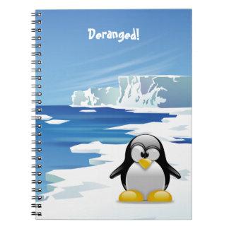 Pingüino loco en el hielo libros de apuntes con espiral