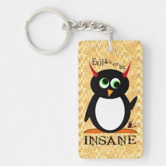 Pingüino malvado insano llavero rectangular acrílico a una cara