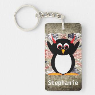 Pingüino malvado Union Jack personalizado Llavero Rectangular Acrílico A Una Cara