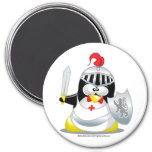Pingüino medieval del caballero imanes
