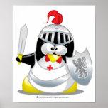 Pingüino medieval del caballero posters