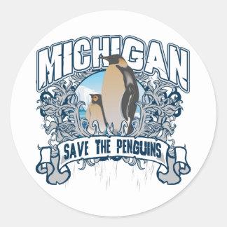 Pingüino Michigan Etiqueta Redonda