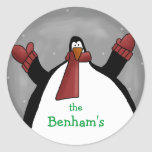 Pingüino - modificado para requisitos particulares pegatina redonda