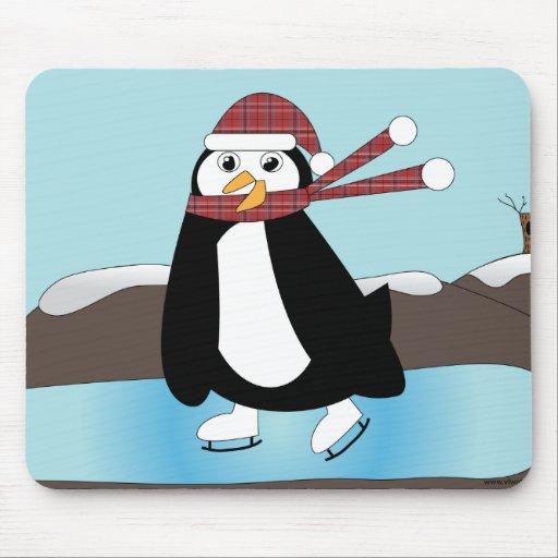 Pingüino Mousepad del patinaje de hielo Alfombrilla De Raton