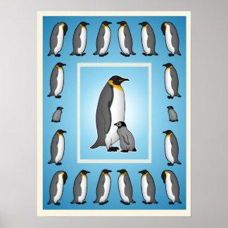 Pingüino mural póster