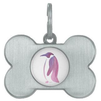 Pingüino muy violeta placa de nombre de mascota