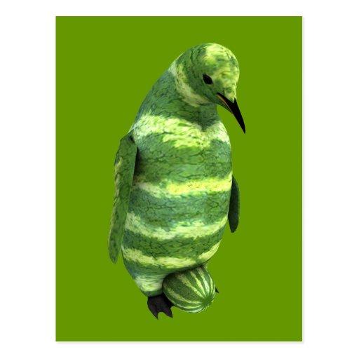 Pingüino nacional del día de la sandía postal
