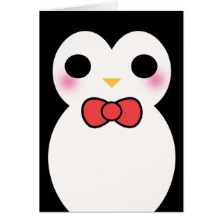 Pingüino negro del smoking tarjeta pequeña