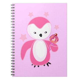 Pingüino negro y blanco con Lt del helado. BG rosa Libros De Apuntes Con Espiral