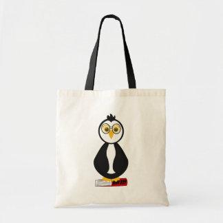 Pingüino Nerdy lindo del ratón de biblioteca Bolsa De Mano
