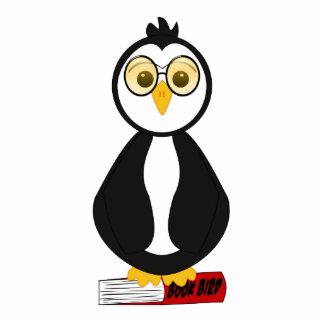 Pingüino Nerdy lindo del ratón de biblioteca Esculturas Fotograficas