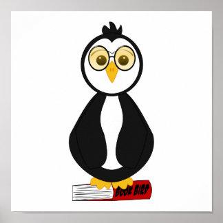 Pingüino Nerdy lindo del ratón de biblioteca Impresiones