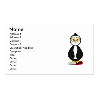 Pingüino Nerdy lindo del ratón de biblioteca Tarjeta De Visita
