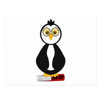 Pingüino Nerdy lindo del ratón de biblioteca Postales