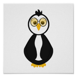 Pingüino Nerdy lindo Poster